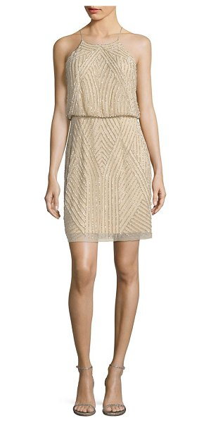 Aidan Mattox sequins blouson dress in beige - Chic blouson silhouette embellished with sequins....