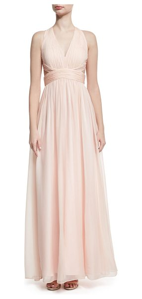 Aidan Mattox Shirred Silk Chiffon Cutout Gown in blush - Aidan Mattox evening gown in shirred silk chiffon. V...