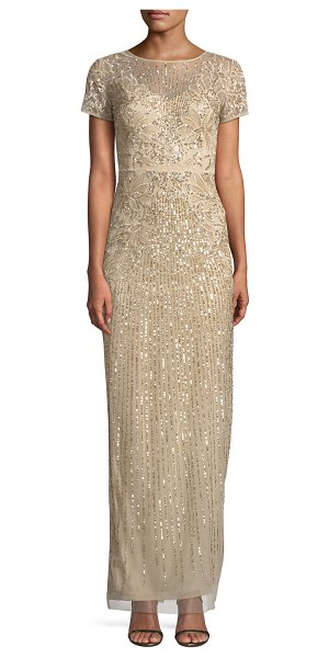 Aidan Mattox Short-Sleeve Sequin-Striped Evening Gown in gold - Aidan Mattox vintage-inspired evening gown features...