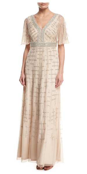 Aidan Mattox Short-Sleeve V-Neck Beaded Chiffon Gown in light gold - EXCLUSIVELY AT NEIMAN MARCUS Aidan Mattox gown in...
