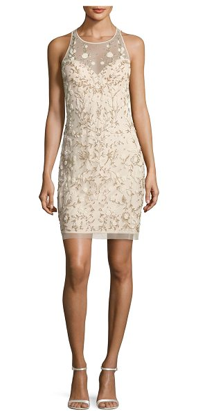 Aidan Mattox Sleeveless Beaded Floral Sheath Dress in champagne - Aidan Mattox mesh cocktail dress with floral beading....