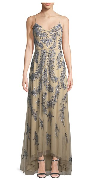 Aidan Mattox Sleeveless Beaded Gown in gold - Aidan Mattox gown features overlay with feather-shaped...