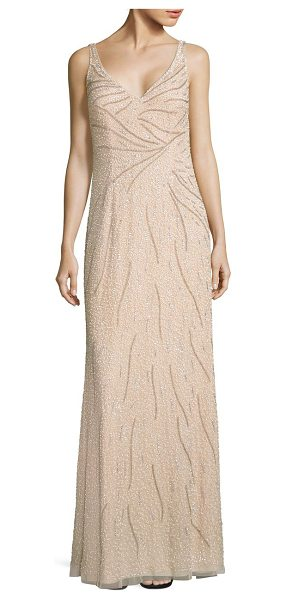 Aidan Mattox sleeveless beaded gown in champagne - Sparkling bead embellishments decorate this gown.V-neck....