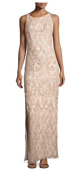 Aidan Mattox Sleeveless Beaded Lace Column Gown in light mink - EXCLUSIVELY AT NEIMAN MARCUS Aidan Mattox evening gown...