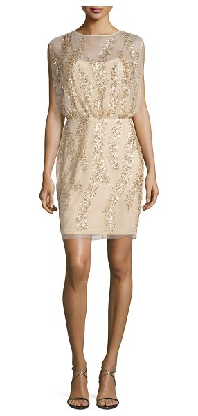Aidan Mattox Sleeveless Embellished Tulle Cocktail Dress in light gold - Aidan Mattox tulle cocktail dress with patterned...