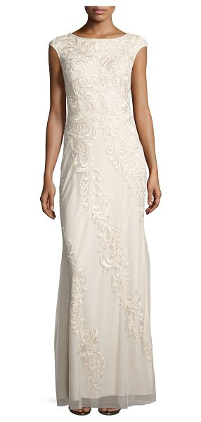AIDAN MATTOX Sleeveless Embroidered Mesh Column Gown - Aidan Mattox mesh gown, featuring beaded, acanthus...