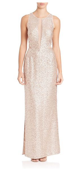 Aidan Mattox sleeveless sequin illusion gown in champagne silver - Sequin gown boasts sultry illusion neckline. Illusion...