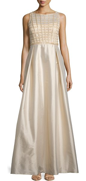 AIDAN MATTOX Sleeveless Sequined-Bodice Taffeta Gown in light gold - Aidan Mattox evening gown with sequined bodice and...