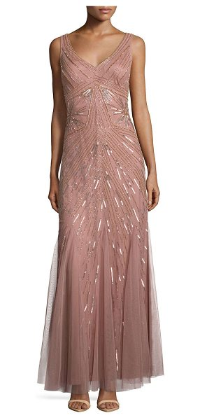 Aidan Mattox Sleeveless two-tone beaded gown in rose gold - Aidan Aidan Mattox gown in deco-beaded mesh. Wide V...