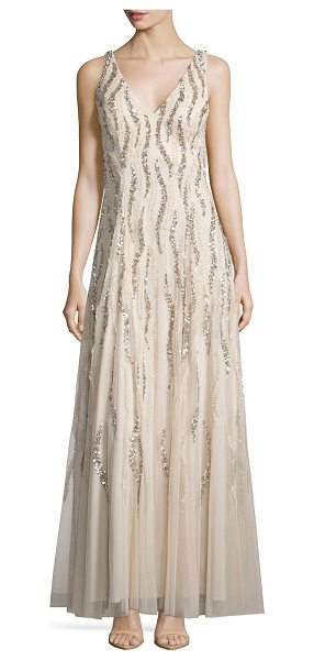 Aidan Mattox Sleeveless v-neck sequined & beaded godet gown in champagne