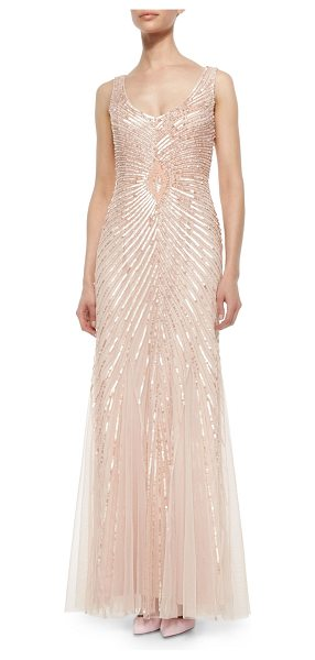 Aidan Mattox Sleeveless v-neck sequined gown in petal - Aidan Mattox tulle and chiffon sequined gown. Approx....