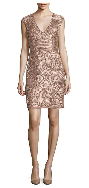 Aidan Mattox soutache embroidered sheath dress in rose gold - Sparkling beaded sheath with soutache embroidery.V-neck....