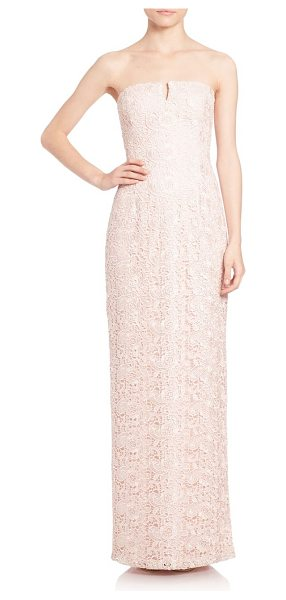 Aidan Mattox strapless lace bridesmaid gown in petal - Streamlined column gown in floral lace. Notched...