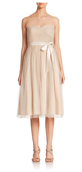 Aidan Mattox Strapless metallic mesh bridesmaid dress in champagne