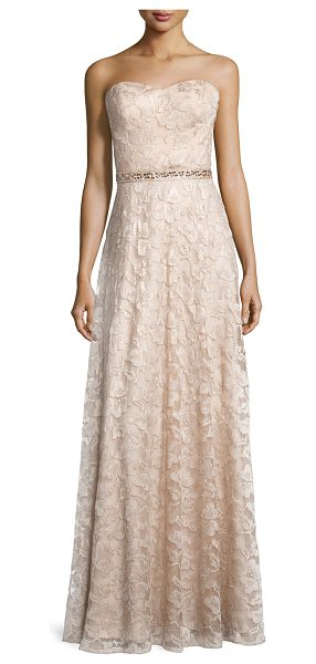 Aidan Mattox Sweetheart-neck strapless lace gown in light gold - Aidan Mattox lace gown with embellished waist. Skirt...