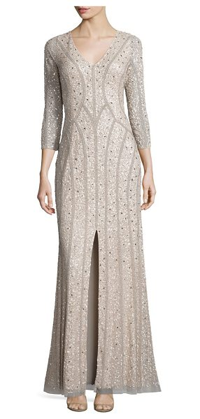 Aidan Mattox three-quarter sleeve sequin gown in champagne - Beautiful gown designed in a sequined...