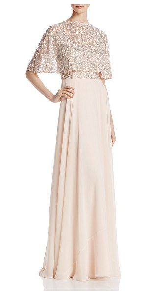 Aidan Mattox Tiered Beaded-Bodice Gown in brown - Aidan Mattox Tiered Beaded-Bodice Gown-Women