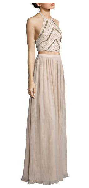 Aidan Mattox two-piece beaded halter top & pleated maxi skirt in champagne - Beaded cropped top pairs with pleated maxi skirt....