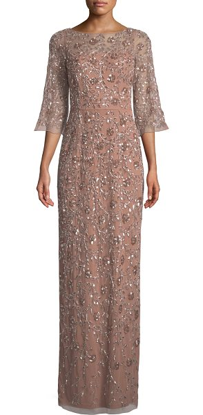 "Aidan Mattox V-Back Beaded Column Gown in pink/gold - Aidan Mattox beaded gown. Approx. 49"" down center back...."
