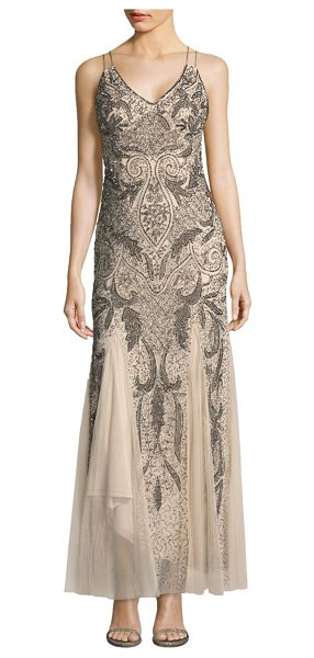 Aidan Mattox v-neck beaded dress in champagne - Stunning dress decorated with beaded accents.V-neckline....