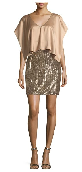 Aidan Mattox V-Neck Satin Sequined Combo Cocktail Dress in bronze - Aidan Mattox combo dress with a satin popover bodice and...