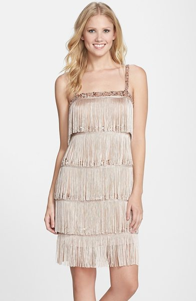AIDAN MATTOX tiered fringe flapper cocktail dress - Shimmery beaded bands peek through the tiered fringe on...