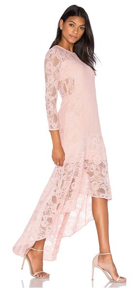 aijek Galella Lace Asymmetric Maxi Dress in pink - 100% polyester. Dry clean only. Partially lined. Hidden...