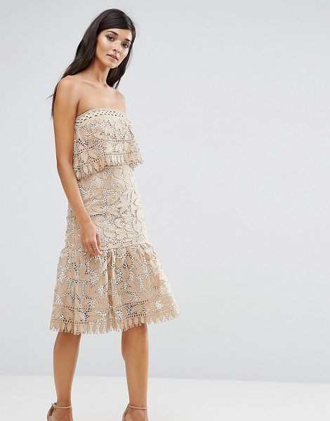 "aijek Lace Double Layer Bandeau Dress With Peplum Hem in cream - """"Dress by Aijek, Lined crochet lace, Double-layer..."