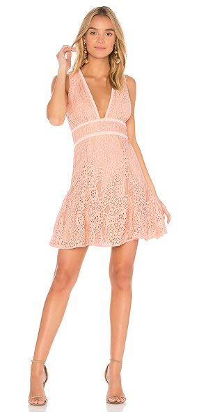 aijek Mae Plunge Lace Dress in blush - 100% poly. Dry clean only. Fully lined. Allover crochet...