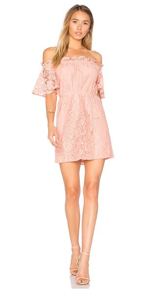 aijek Padova Off Shoulder Dress in coral almond - 100% poly. Dry clean only. Fully lined. Elasticized...
