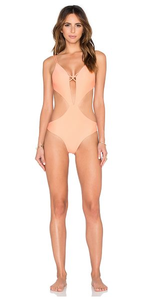 Aila Blue Onyx One Piece in peach - 80% nylon 20% spandex. Hand wash cold. Stretch fit....