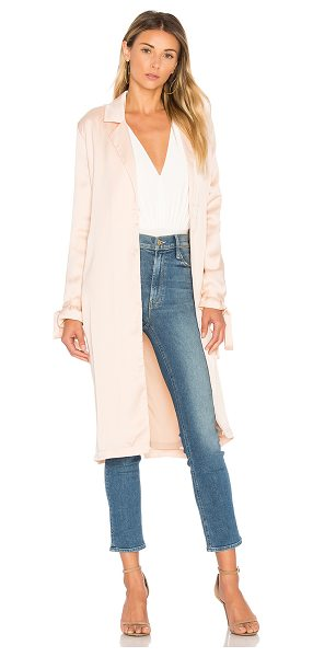 AIRLIE Paris Trench in blush - 100% poly. Hand wash cold. Open front. Side welt...