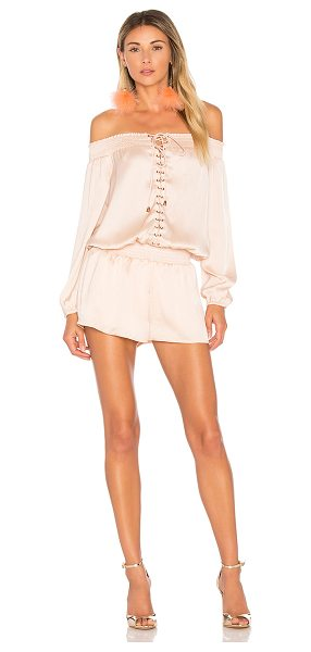 """AIRLIE Portia Off the Shoulder Playsuit in pink - """"92.5% poly 7.5% spandex. Hand wash cold. Smocked..."""