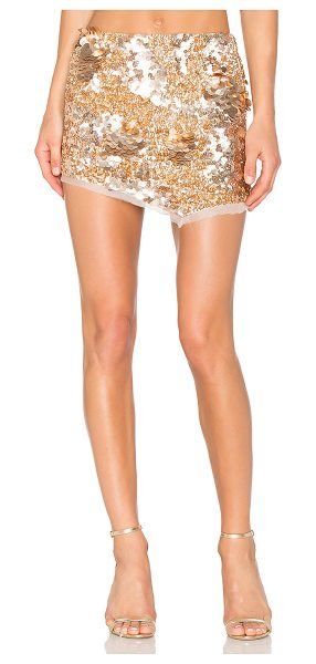 Aje Jaws Sequin Mini Skirt in rose gold - Poly blend. Dry clean only. Unlined. Sequined...