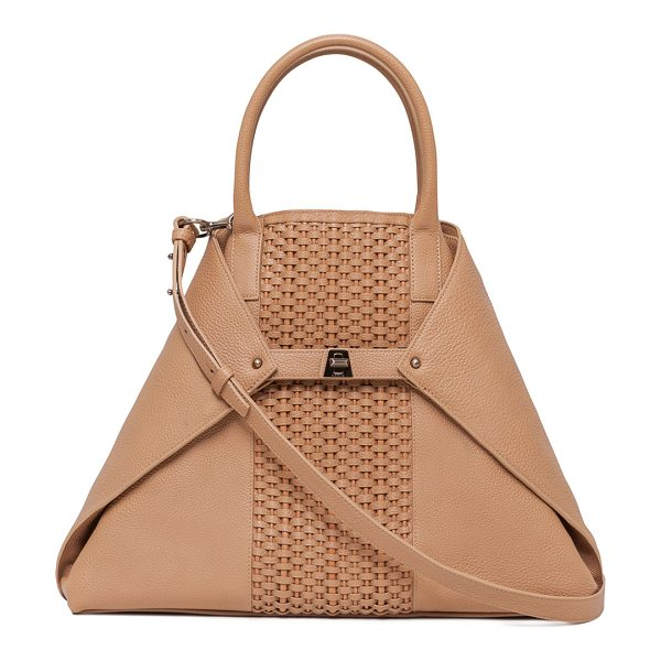 AKRIS Ai Medium Braided Top-Handle Bag - Akris pebbled calf leather tote bag with brass hardware....