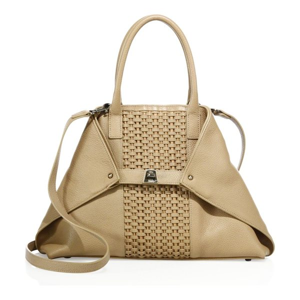 AKRIS ai medium convertible woven leather tote in camel - Leather tote with woven panel and foldable corners....