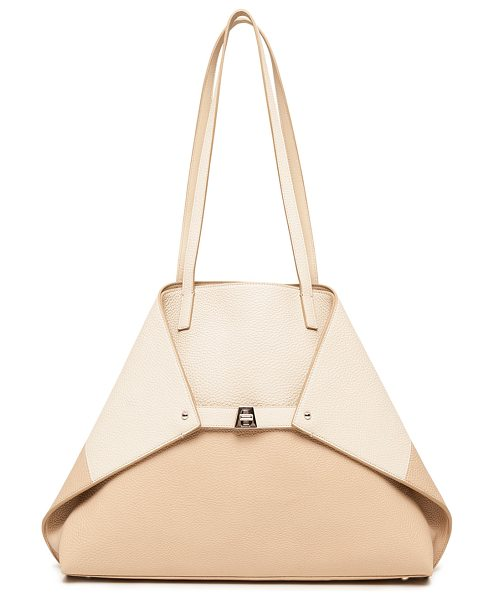 AKRIS Ai Medium Reversible Colorblock Tote Bag in beige - Akris colorblock pebbled leather shoulder bag reverses...