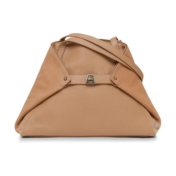 "AKRIS Ai small pebbled grained calf leather tote bag in camel -  Akris cervo smooth and pebbled calf leather ""Ai"" tote..."