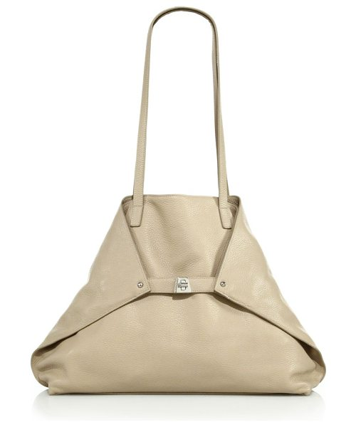 AKRIS Ai small convertible leather shoulder bag in caramel - Foldover trapezoid silhouette in sleek pebbled...