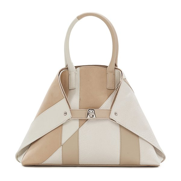 AKRIS Ai Small Patchwork Python Shoulder Bag in white/brown - Akris two-tone patchwork calf leather and python...