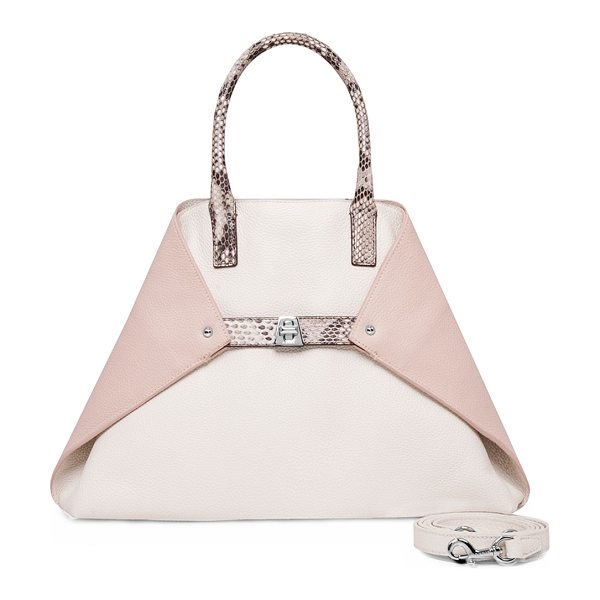 AKRIS Ai Small Top-Handle Python & Leather Shoulder Bag in rose/rock