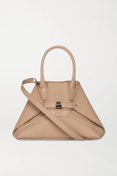 AKRIS aicon small embossed textured-leather tote in beige
