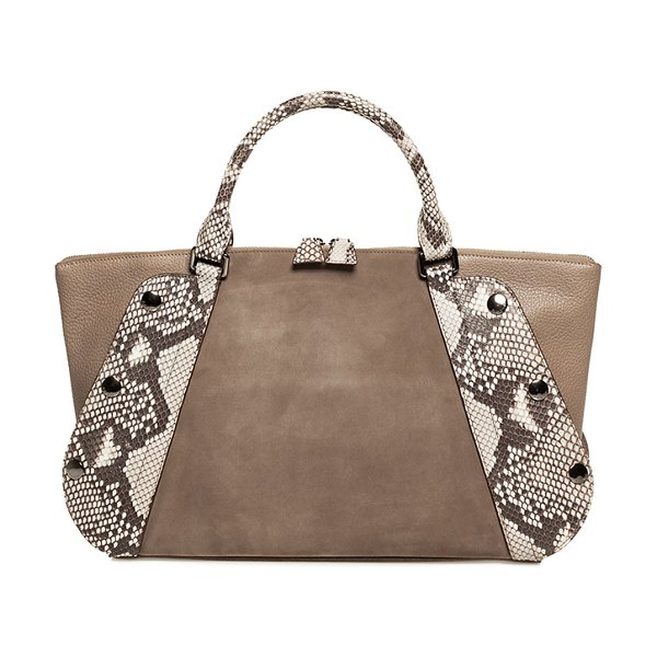 AKRIS Aimee Small Two-Tone Satchel Bag in taupe