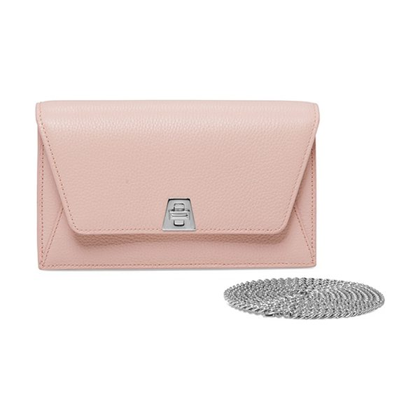 AKRIS Anouk Mini Leather Chain Envelope Clutch Bag in pale rose - Akris pebbled calf leather clutch bag. Removable chain...