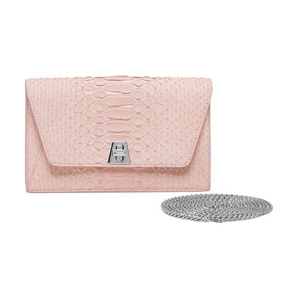 AKRIS Anouk Sueded Python Mini Clutch Bag in light pink