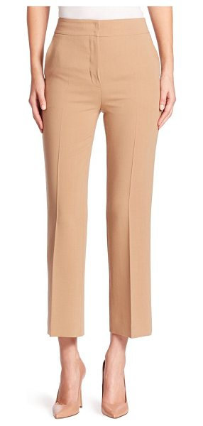 AKRIS cara wool pants in camel - Cropped straight-leg silhouette tailored in double face...