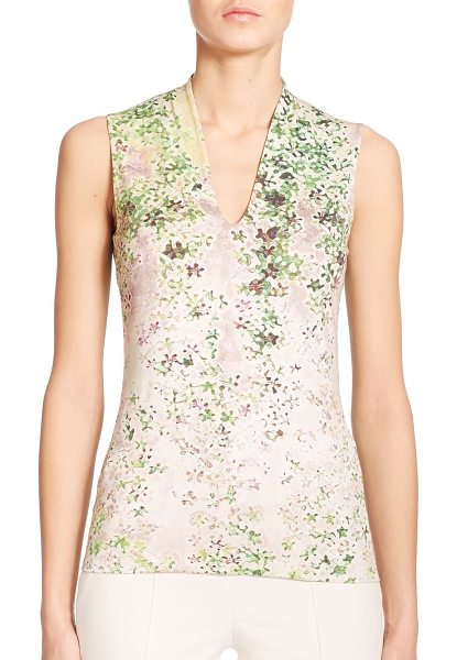 AKRIS Clover print v-neck top in clover-beige - A whimsical abstract clover print defines this knit...
