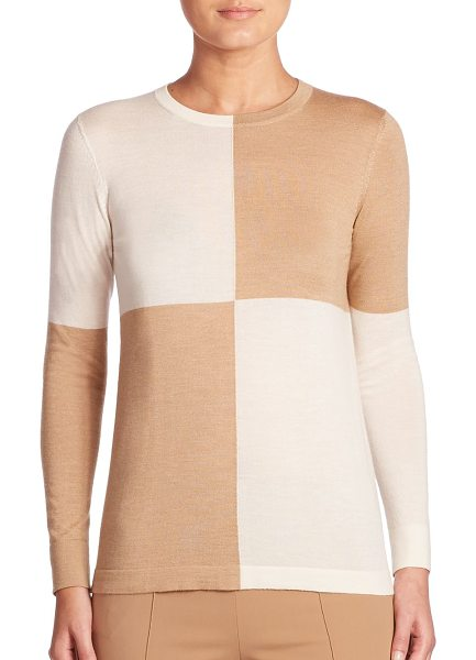 AKRIS colorblock pullover in camel-moonstone - Contrast colorblock makes this knit the perfect modern...