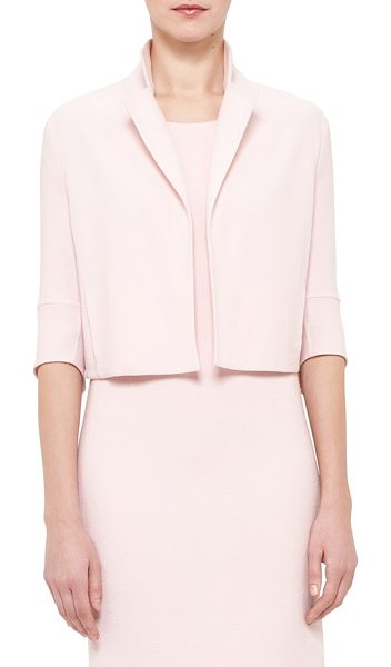 AKRIS double face wool crepe crop jacket in flamingo - A softly blushed hue heightens the sophisticated...