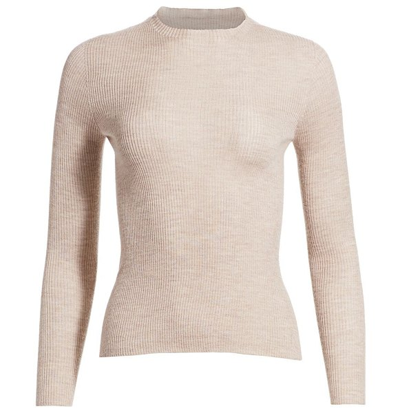 AKRIS fine ribbed cashmere & silk top in clay